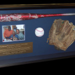 Signed Bat, Glove and Ball